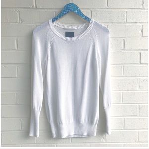Aritzia Wilfred Free White Viscose Knit Sweater